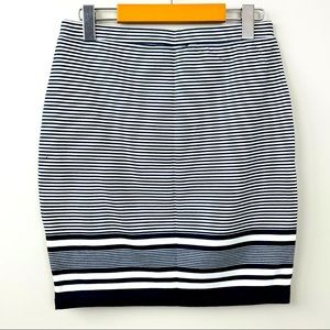 Navy and white cotton stretchy pencil skirt